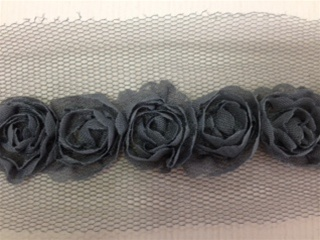 LNS-FLR-146-1LINE-GREY. 1-LINE FLORAL LACE ON ORGANZA