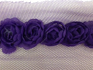 LNS-FLR-146-1LINE-PURPLE. 1-LINE FLORAL LACE ON ORGANZA