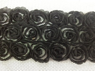 LNS-FLR-146-3LINE-BLACK.  3-LINE FLORAL LACE ON ORGANZA