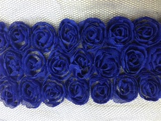 LNS-FLR-146-3LINE-BLUE.  3-LINE FLORAL LACE ON ORGANZA