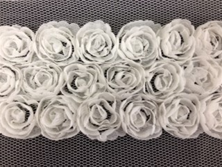 LNS-FLR-146-3LINE-WHITE.  3-LINE FLORAL LACE ON ORGANZA