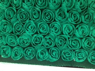 LNS-FLR-146-5LINE-FLOWERS.  FLORAL LACE ON ORGANZA