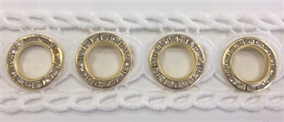 LNS-VEN-144-WHITE.  Venice Lace with Crystals in a Metallic Gold Ring - White - 1.5 Inches Wide