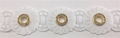 LNS-VEN-145-WHITE.  Venice Lace with Crystals in a Metallic Gold Ring - White - 1.5 Inches Wide