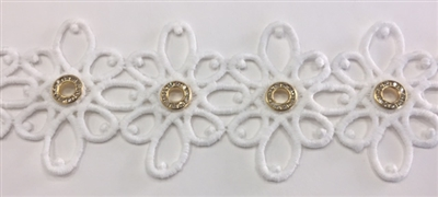 LNS-VEN-146-WHITE.  Venice Lace with Crystals in a Metallic Gold Ring - White - 2.5 Inches Wide