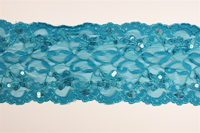 "LST-BED-101-TOURQUOISE.    6.0""-wide Stretch Beaded Lace"