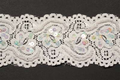 LST-BED-106-ABWHITE.  Beaded Stretch Lace