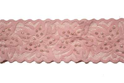 LST-BED-108-PINK.  Beaded Stretch Lace