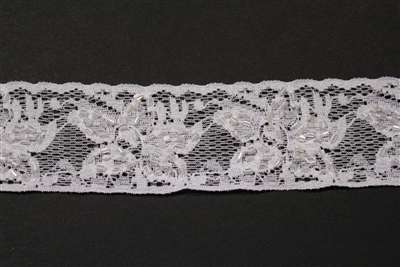 LST-BED-112-WHITE.  Beaded Stretch Lace