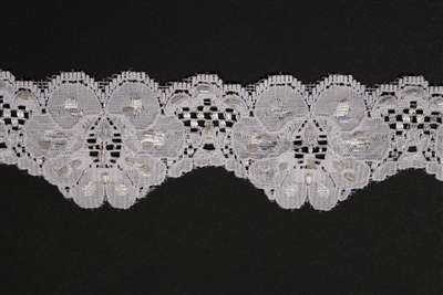 LST-BED-117-WHITE.  Beaded Stretch Lace