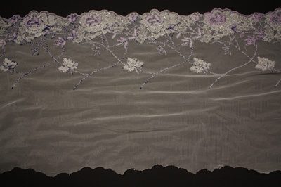 "LST-BED-133-PURPLE.    6.0""-wide Stretch Beaded Lace"