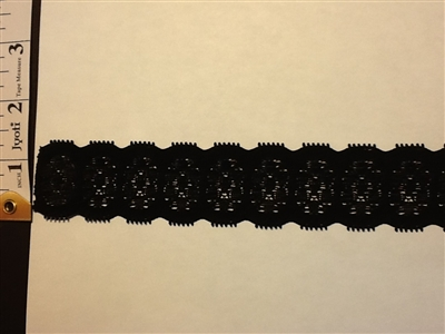 LST-REG-101-BLACK.  Stretch Lace - 1 INCH WIDE - BLACK