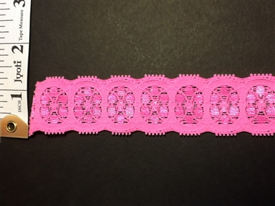 """5-5//8/"""" 14cm wide 5-10 yds Deep Pink and Lt Purple Elastic Stretch Lace L445"""