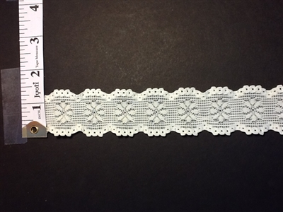 LST-REG-102-IVORY.  STRETCH LACE 1 INCH WIDE - IVORY