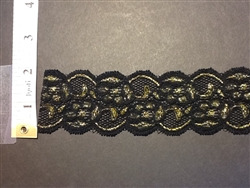 LST-REG-103-BLACKGOLD.  STRETCH LACE 1 INCH WIDE - BLACK GOLD