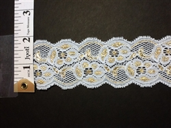 LST-REG-103-WHITEGOLD.  STRETCH LACE 1 INCH WIDE - WHITEGOLD