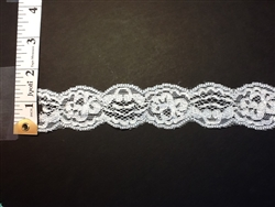 LST-REG-104-WHITE2.  STRETCH LACE 1 INCH WIDE - WHITE