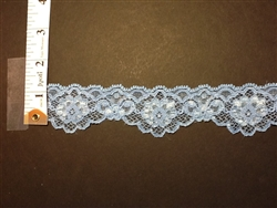 LST-REG-105-BABYBLUE1.  STRETCH LACE I INCH WIDE - BABY BLUE