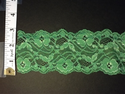 LST-REG-304-GREEN.  STRETCH LACE 3 INCH WIDE - GREEN