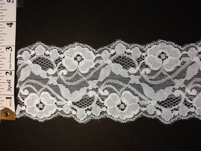 LST-REG-304-WHITE.  STRETCH LACE 3 INCH WIDE - WHITE