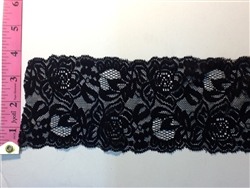 LST-REG-306-BLACK.  STRETCH LACE 3 INCH WIDE - BLACK
