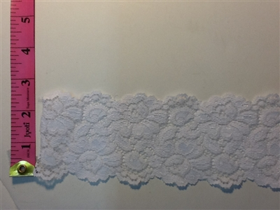LST-REG-306-WHITE1.  STRETCH LACE 3 INCH WIDE - WHITE