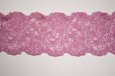 LST-REG-337-PURPLE.  STRETCH LACE 3 INCH WIDE - PURPLE