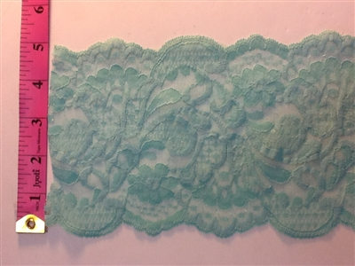 LST-REG-503-GREEN.  STRETCH LACE 5 INCH WIDE - GREEN