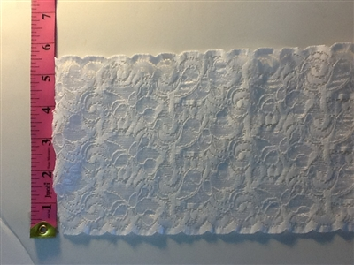 LST-REG-505-WHITE.  STRETCH LACE 5 INCH WIDE - WHITE