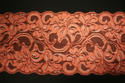 "LST-REG-607-PEACH.  6.0""-wide Stretch Lace"