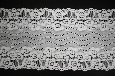 "LST-REG-613-WHITE.  6.0""-wide Stretch Lace"