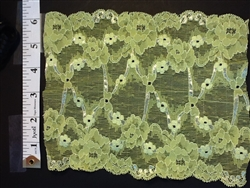 LST-REG-614-LIMEGREEN.  STRETCH LACE 6 INCH WIDE - LIME GREEN