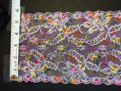 LST-REG-614-MULTIPURPLEGREEN.  STRETCH LACE 6 INCH WIDE - MULTI COLOR PURPLE GREEN