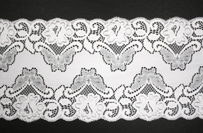 "LST-REG-615-WHITE.  6.0""-wide Stretch Lace"
