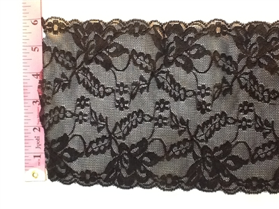 LST-REG-620-BLACK1.  STRETCH LACE 6 INCH WIDE - BLACK