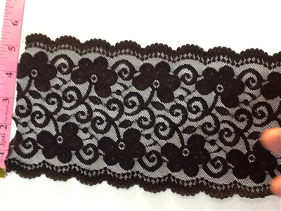 LST-REG-620-BLACK2.  STRETCH LACE 6 INCH WIDE - BLACK