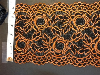 LST-REG-621-BLACKORANGE.  STRETCH LACE 6 INCH WIDE - BLACKORANGE