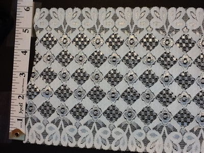 LST-REG-621-BLACKWHITE.  STRETCH LACE 6 INCH WIDE - BLACKWHITE