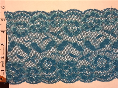LST-REG-621-BLUE.  STRETCH LACE 6 INCH WIDE - BLUE