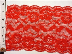 LST-REG-621-RED.  STRETCH LACE 6 INCH WIDE - RED