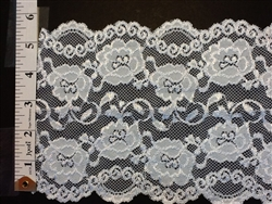 LST-REG-621-WHITE.  STRETCH LACE 6 INCH WIDE - WHITE