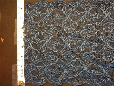 LST-REG-703-BLUE.  STRETCH LACE 7 INCH WIDE - BLUE