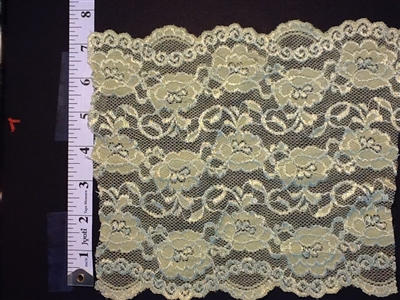 LST-REG-703-GREYBLUE.  STRETCH LACE 7 INCH WIDE - GREY BLUE