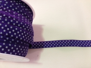 RBN-FOV-103-POLKADOT-PURPLE.  ELASTIC FOLD-OVER POLKA DOT PURPLE - 5/8 INCH WIDE - PUTUP 50 YARD ROLLS