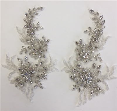 RHS-APL-001-SILVER-PAIR.  Sew-On Clear Crystal Rhinestone Applique for Bridal Gowns -  10 X 6 Inches - One Pair.  Made with high quality clear crystals sewn on a white fabric mesh.