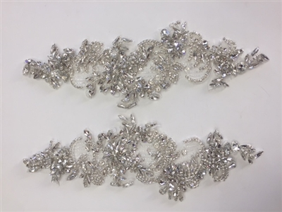RHS-APL-002-SILVER-PAIR. Sew-On Clear Crystal Rhinestone Applique for Bridal Gowns - 12 X 5 Inches - One Pair. Made with high quality clear crystals sewn on a white fabric mesh.