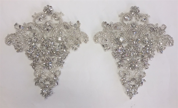 RHS-APL-004-SILVER-PAIR.  Sew-On Clear Crystal Rhinestone Applique for Bridal Gown -  8 x 9 Inches - One Pair. Made with high quality clear crystals sewn on a white fabric mesh.