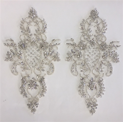 RHS-APL-005-SILVER-PAIR.  Sew-On Clear Crystal Rhinestone Applique -  14.5 x 8 Inches - One Pair. Made with high quality clear crystals sewn on a white fabric mesh.