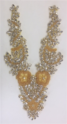 RHS-APL-032-GOLD. Clear Rhinestone Applique with Gold Beads V-Neck Style - Hot Fix (Iron-On). 11 x 4.5 Inches