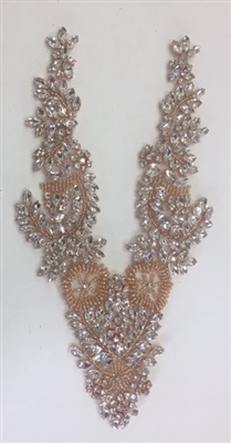 RHS-APL-032-ROSEGOLD. Clear Rhinestone Applique with RosGold Beads V-Neck Style - Hot Fix (Iron-On). 11 x 4.5 Inches